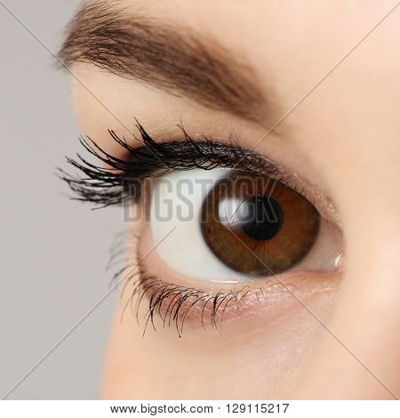 Close up view of a brown woman eye looking at camera