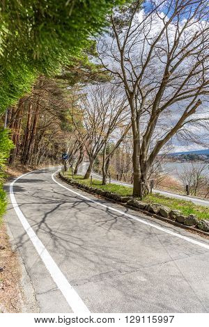 Beautiful scenary of Kawaguchiko lakeside at Momiju Tunnel in Japan with the road as the leading line for the eye