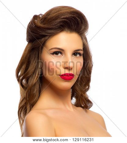 Beauty portrait of pinup girl isolated