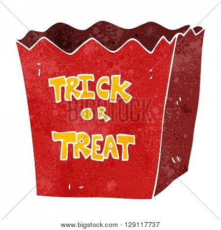 freehand retro cartoon trick or treat bag