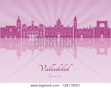 Valladolid skyline in purple radiant orchid in editable vector file