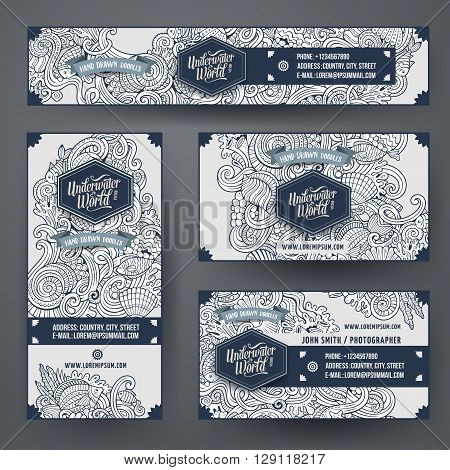 Corporate Identity vector templates set design with doodles hand drawn Underwater life theme. Line art banner, id cards, flayer design. Templates set