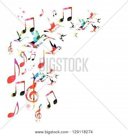 Colorful G-clef design with hummingbirds. Vector illustration