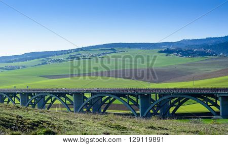 Spring landscape of Spis Slovakia with highway bridge