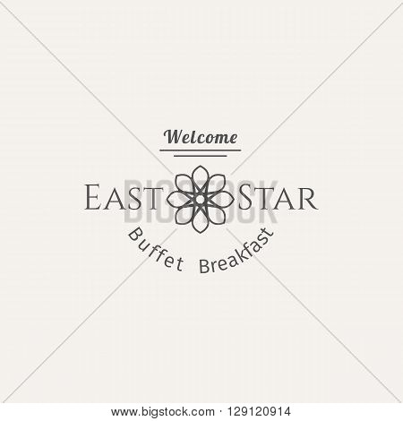 Asian food logo template. Vector ethnic ornamental design for restaurants and cafes.