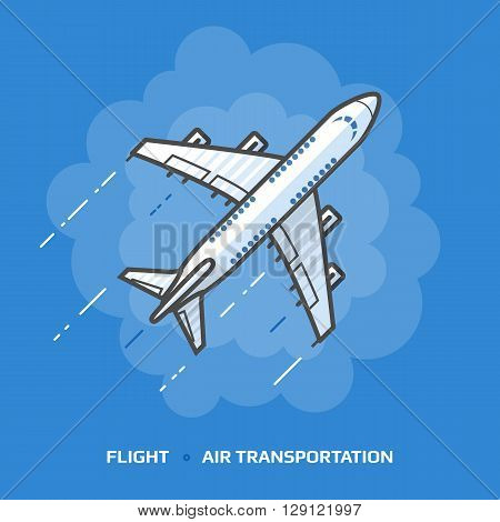 Flat illustration of white plane against blue background. Flat design of passenger airliner in sky, top view. Vector illustration about flights, plane, travel, aviation, piloting, air transport, etc