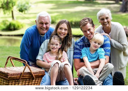 Portrait of multi-generation family having a picnic in the park