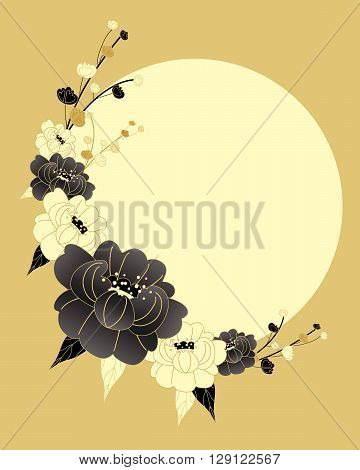 an illustration of a chinese style chrysanthemum design in black gold and cream colors with a big yellow sun