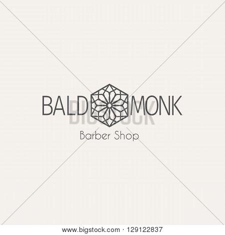 Asian barber shop logo template. Vector ethnic ornamental design for beauty salons