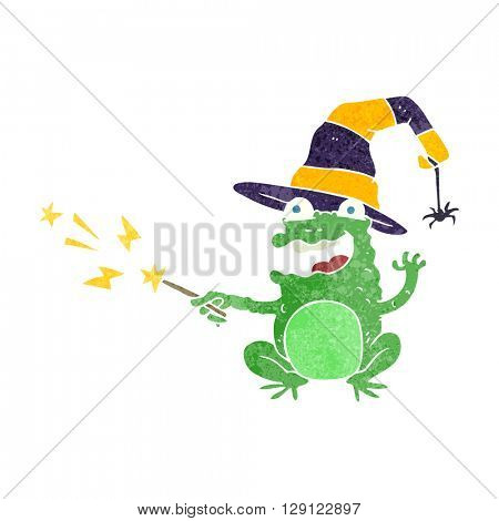 freehand retro cartoon toad casting spell