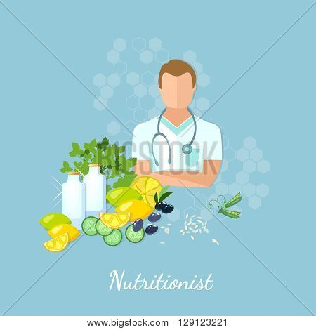 Nutritionist healthy eating diet healthy food vector illustration