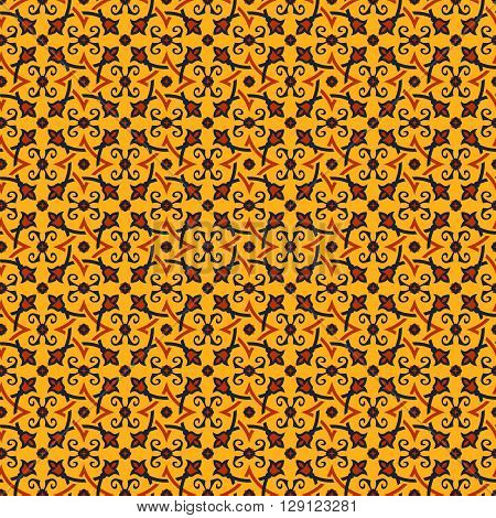 Eastern seamless pattern in yellow orange and dark blue colors. Stylized oriental ornament. Vector abstract background.