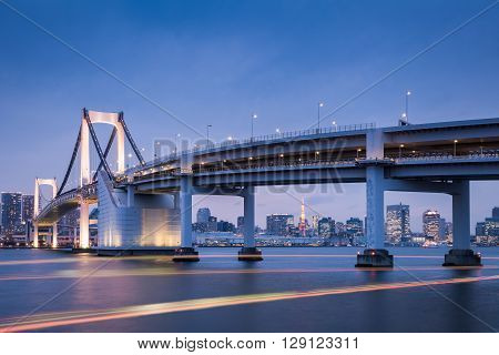 Tokyo bay view with Tokyo Rainbow bridge and Tokyo Tower in evening