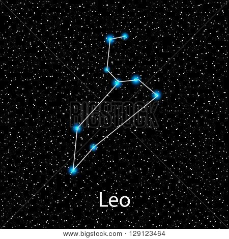 Vector Leo Zodiac sign  bright blue stars in cosmos. Constellation