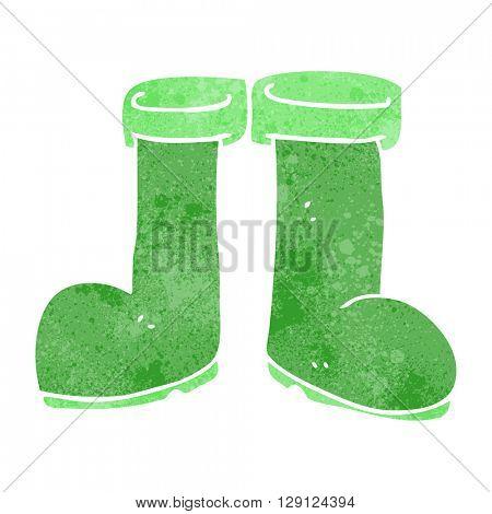 freehand retro cartoon wellington boots