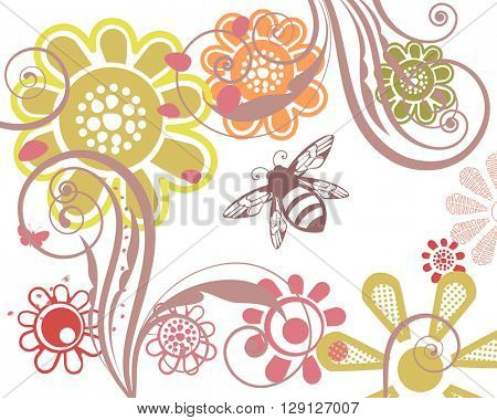Summer garden flowers  with flourish and bees
