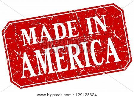 made in America red square grunge stamp