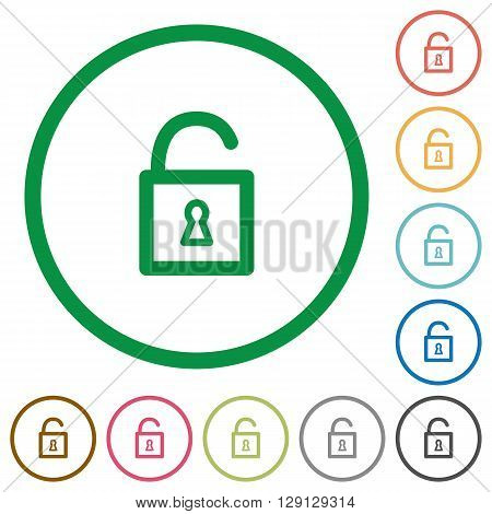 Set of Unlocked padlock color round outlined flat icons on white background