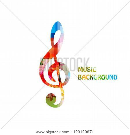 Colorful music backgroung with g-clef. Vector illustration