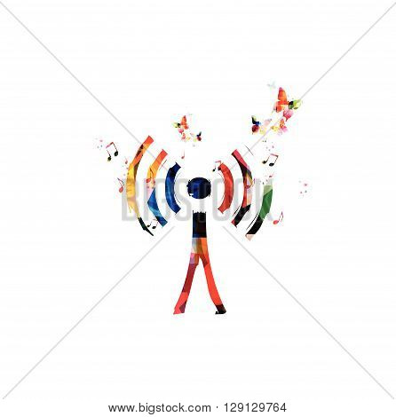Vector illustration of colorful wireless network symbol with butterflies