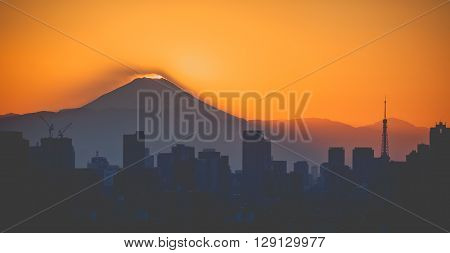 Sunset on Top of Mount Fuji seen from Tokyo city