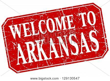 welcome to Arkansas red square grunge stamp