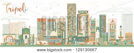 Abstract Tripoli Skyline with Color Buildings. Vector Illustration. Business Travel and Tourism Concept with Historic Buildings. Image for Presentation Banner Placard and Web.