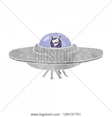 freehand retro cartoon flying saucer