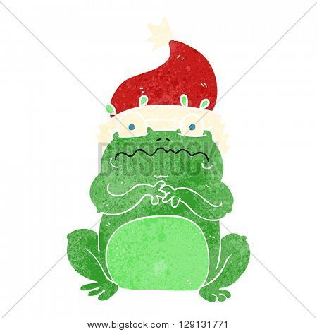 freehand retro cartoon frog in christmas hat