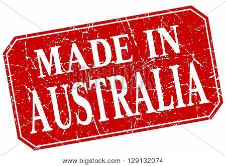 made in Australia red square grunge stamp