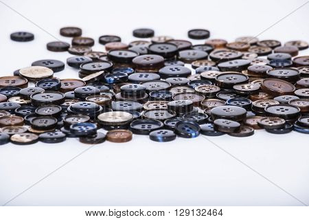 Buttons used for bespoke tailored suits, macro