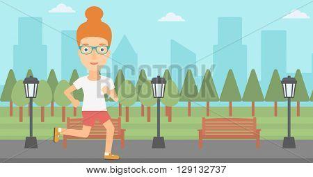 Sportive woman jogging.