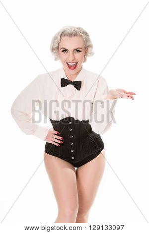 Cute Burlesque Dancer In Bow Tie, Frilled Shirt & Corset, Isolated On White