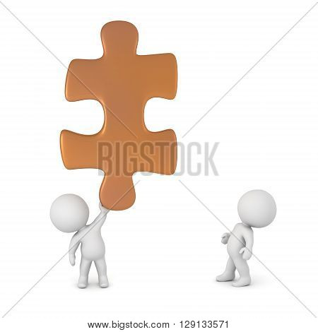 Two small 3D characters and a large puzzle piece. Isolated on white background.