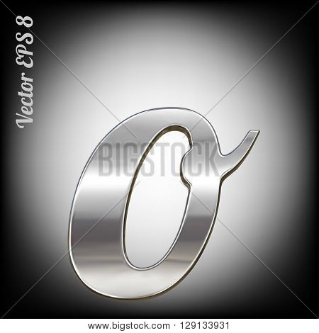 Vector letter o from metal alphabet. Lovercase metal font collection. EPS 8
