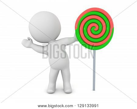 A 3D character waving from behind a large colorful lolipop. Isolated on white background.