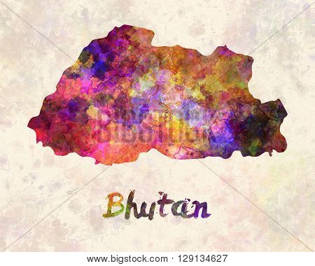 Bhutan map in artistic abstract watercolor background