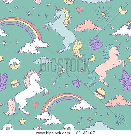 Magic seamless pattern with unicorn, rainbow, stars and crystals