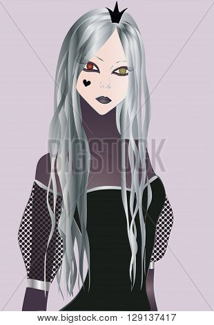 Dark Princess with long grey hair and big heterochromic eyes in dark corset dress