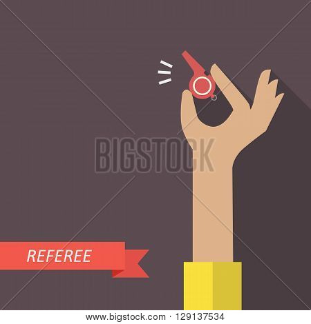 Referee holding a red whistle. Vector illustration