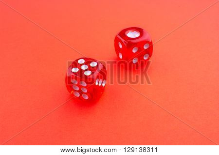 Two Red dice on a red background