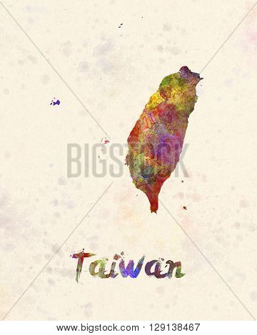 Taiwan map in artistic abstract watercolor background
