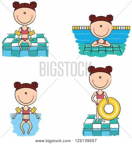 Cute vector swimmer girls in different situations: sitting on the rim of the pool with feet in the water resting in the pool swimming in the pool with inflatable armbands standing with inflatable ring