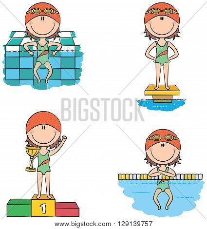 Cute vector swimmer girls in different situations: relax in the pool on the starting platform on the winner's podium with the cup resting on the lane dividing rope