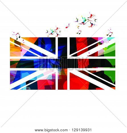 Vector illustration of colorful United Kingdom flag with hummingbirds
