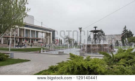 ROSTOV-ON-DON RUSSIA- MAY 01- Theater Square with a fountain in the center.Sculptor E.Vucetich on May 012015 in Rostov-on-Don