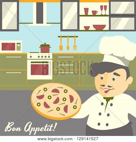 Pizza chief cook illustration with kitchen interior background. Flat vector design. Soft color palette. Front view.