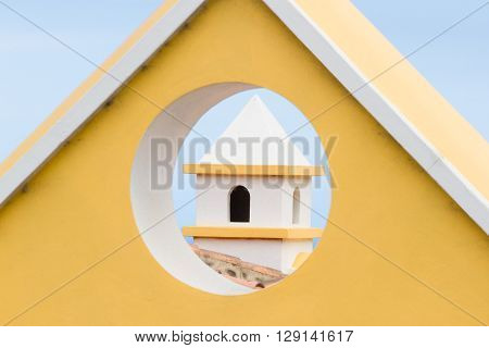 Yellow triangular or circular roof. Modern  roof architecture, Spain. ** Note: Visible grain at 100%, best at smaller sizes