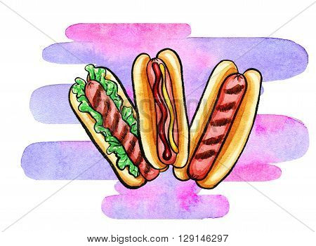 Hand drawn watercolor illustration of hot dogs with mustard, ketchup, grill marks on colorful shape. Isolated on the white background, food drawing