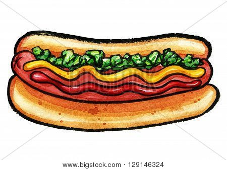 Hand drawn watercolor illustration of hot dog with mustard, ketchup and green relish on colorful shape. Isolated on the white background, food drawing